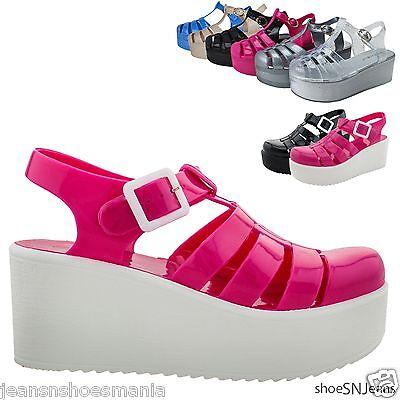 4b721c26d67 New Women Summer T-Strap Retro Flat Block Platform Jelly Rain Shoes Sandals