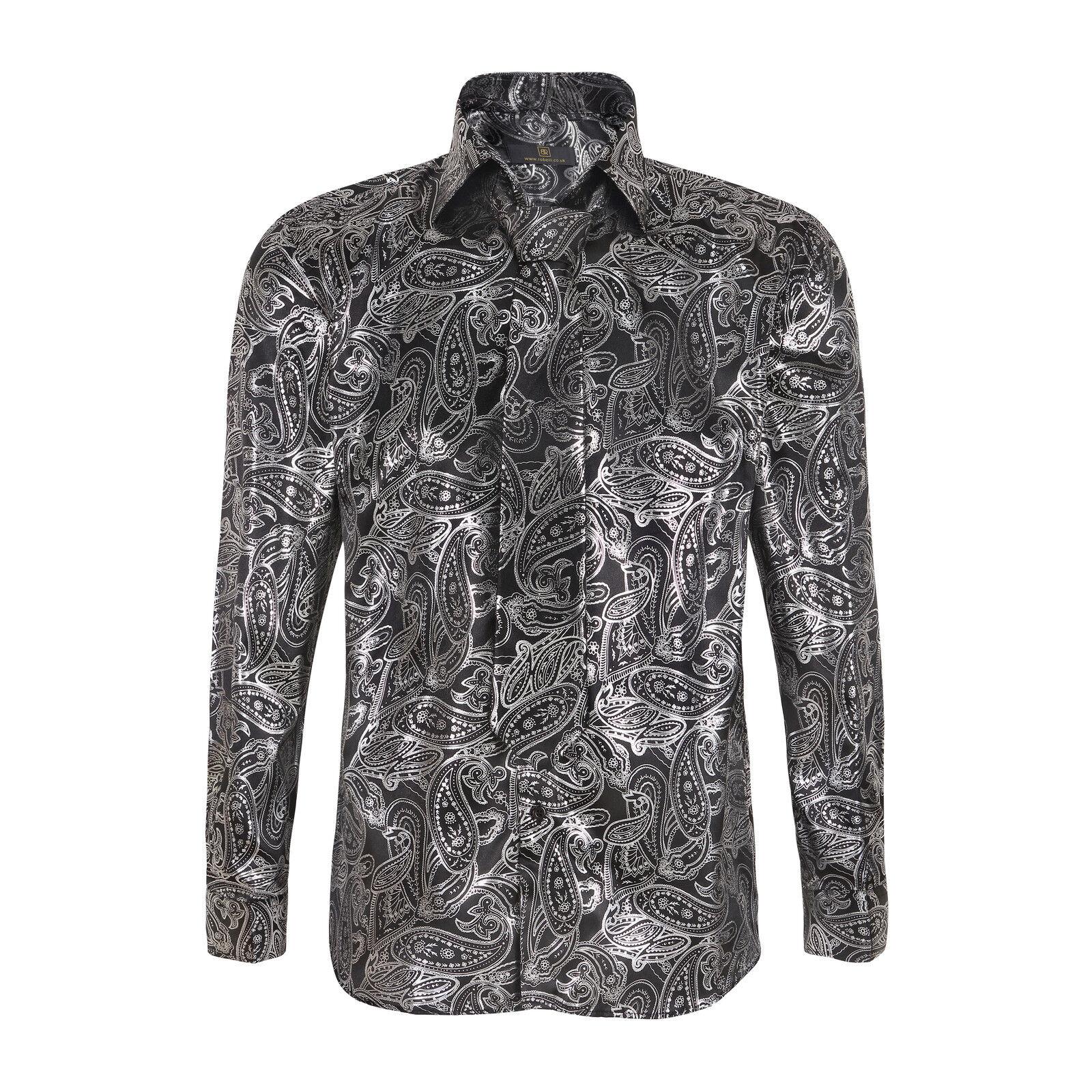 Men 39 s satin metallic paisley italian shirt with matching for Mens shirts with matching ties
