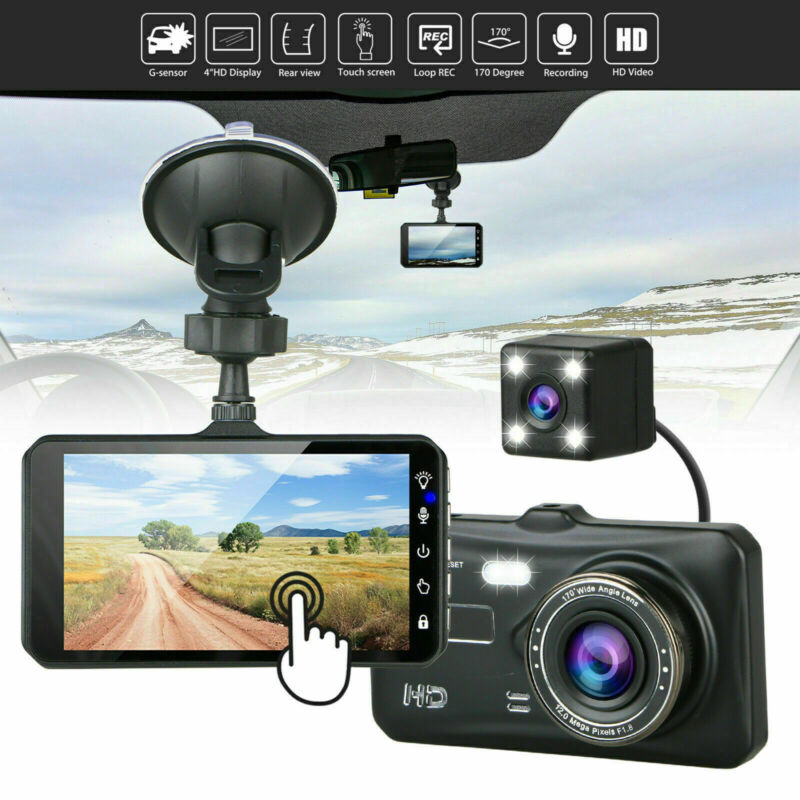 "4"" 1080P Dual Lens Touch Screen Car DVR Dash Cam Front and Rear Camera G-sensor"
