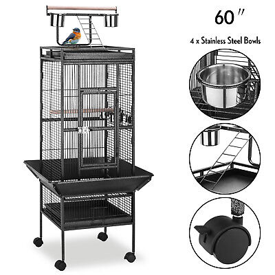 60'' Large Bird Cage Playtop Pet Supplies House W/Perch Stand & 4 Cup Feeders