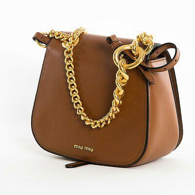 New MIU MIU Dahlia Leather Crossbody Shoulder Chain Bag Brandy Brown 5BD0202EOC