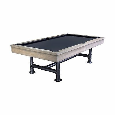 Bedford Pool Table 8' Weathered Oak w/ Dining Top and Iron Legs FREE SHIPPING for sale  Tracy