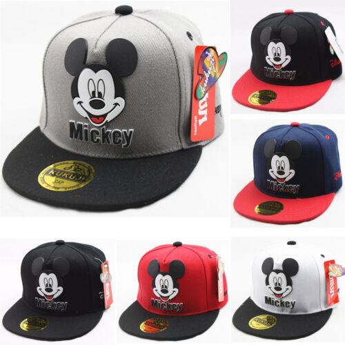 Kinder Mickey Mouse Sport Basecap Kappe Baseballmütze Snapback Kricket Hüte Cap
