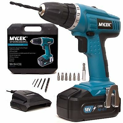 MYLEK 18V Volt Cordless NiCd DIY Combi Drill Driver Screwdriver Variable speed