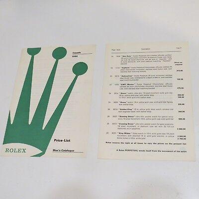 ROLEX 1966 Men s Catalog Price List English Splited in 2 parts Toronto Canada