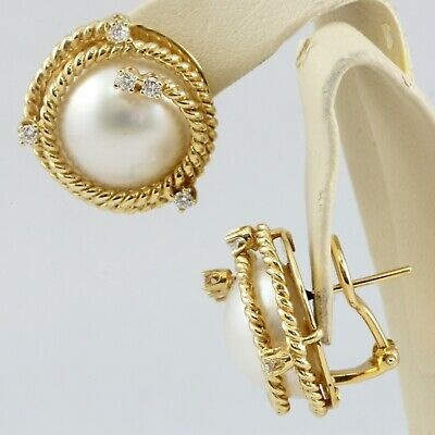 14k Yellow Gold 16mm Mabe Pearl Round Diamond Post Omega Back Earrings E/VS2 16mm Mabe Pearl