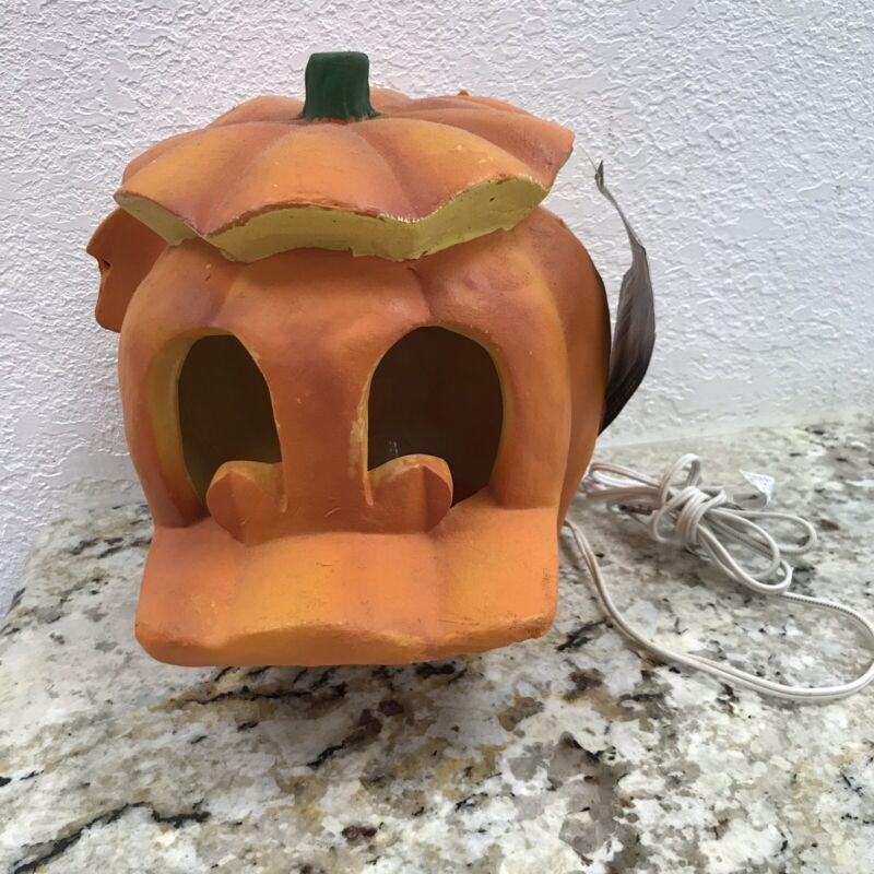 Vintage Disney Mickey Unlimited Donald Duck Foam Lite Up Halloween Head Pumpkin