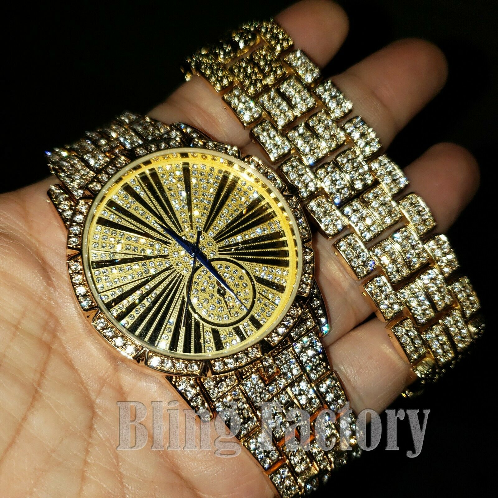 MEN'S ICED HIP HOP GOLD PT LAB DIAMONDS URBAN STYLE WATCH &