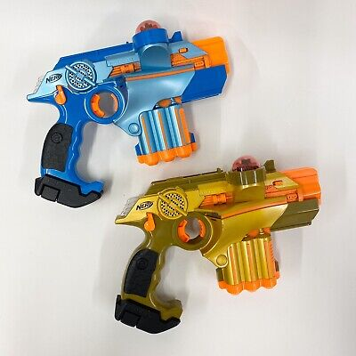 2 Nerf Lazer Tag Phoenix LTX Blue & Orange Light Gun 2008 - Tested Working B2