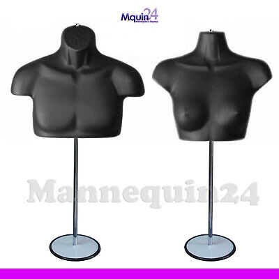 Black Mannequin Male Female Chest Torsos Set  2 Stands 2 Hangers To Hang