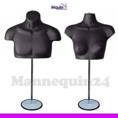 Black Mannequin Male Female Chest Torsos Set  2 Stands 2 Hangers To Hang