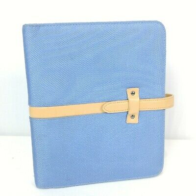 Franklin Covey Classic Planner Binder 7 Rings 1 Blue Nylon Cloth Strap Closure