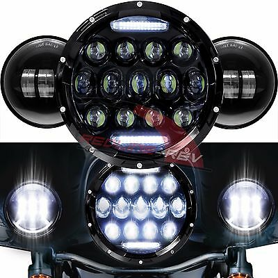 "Black 7"" Daymaker White LED Headlight + Auxiliary Fog Spot Passing Lights Harley"