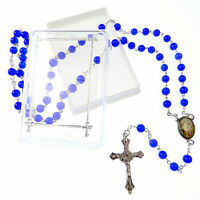 Católica Azul Oscuro Vidrio De Rosario Collar De Perlas En Caja -  - ebay.es