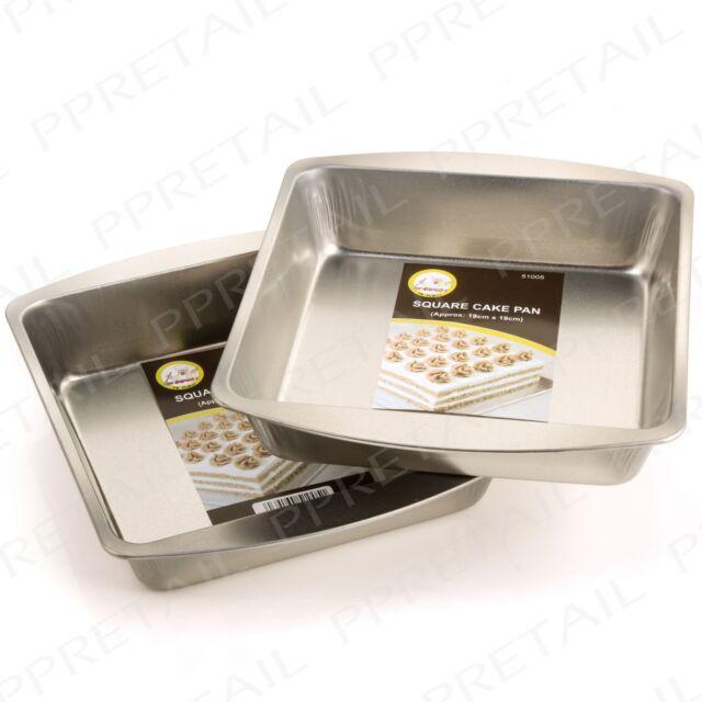 2x SQUARE CAKE PAN Kitchen Oven Baking Tray Tin Dish Bake Bread Lasagne Brownies