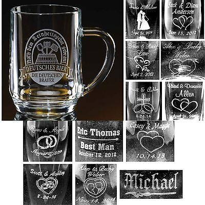 Personalized 20 oz Glass Beer Mugs Bridesmaids Groomsmen Wedding Party - Personalized Beer