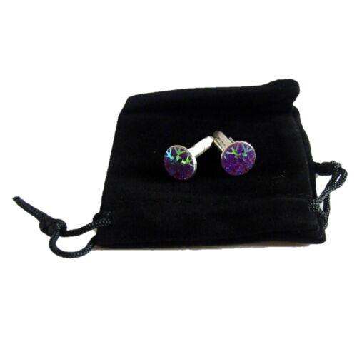 Handmade+Cufflinks+Purple+Snowflake+silver+plated+mount+Hand+made+One+Pair+J15