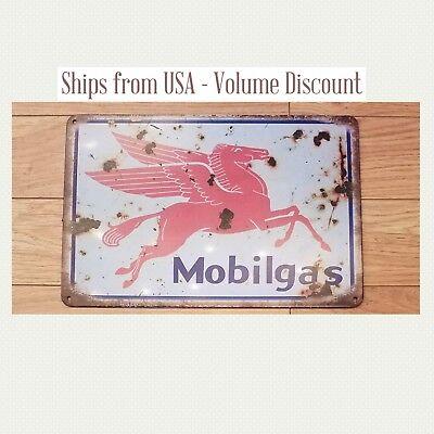 Vintage Mobil Sign Mobil Gas Station Sign Mobilgas Exxon Metal Sign Tin Oil Art - Exxon Mobil Oil