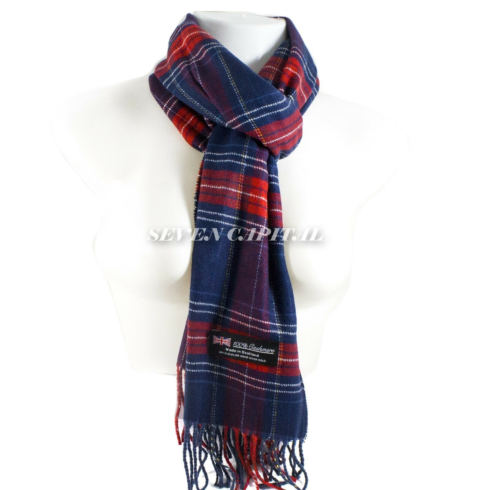Mens Womens Winter Warm SCOTLAND Made 100% CASHMERE Scarf Scarves Plaid Wool 19. Plaid: Navy/Hot/Red