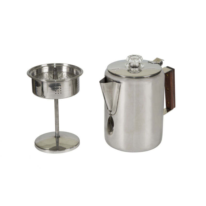 STANSPORT 9 CUP PERCOLATOR COFFEE POT STAINLESS STEEL CAMPING OUTDOOR STOVETOP