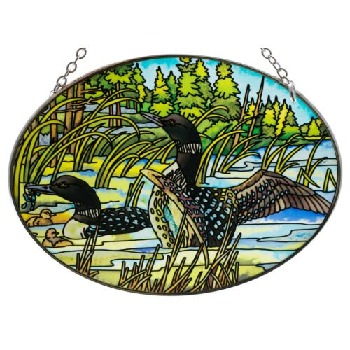 "Loons Suncatcher Hand Painted Glass By AMIA Studios 7"" x 5"" Oval New"