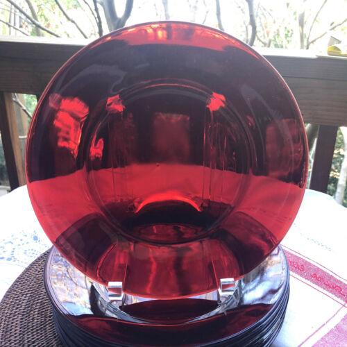 "11  Ruby Depression Glass Dinner Plates 9"" Diameter"