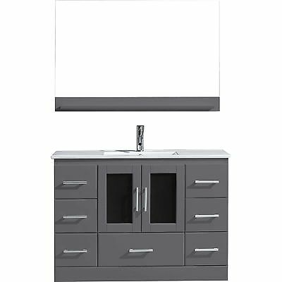 "Zola 48"" Single Sink Cabinet Bathroom Vanity GREY/White Ceramic/Mirror/Chrome"