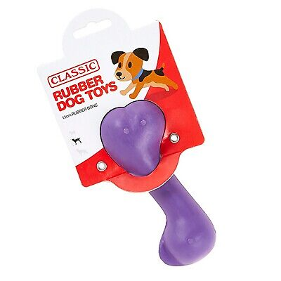 Purple Small Solid Strong Tough Hard Rubber Dog Treat Bone Fetch