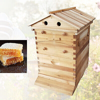 7pcs Auto Beehive Upgraded Bee Hive House Honey Frame Beekeeping Wooden Box
