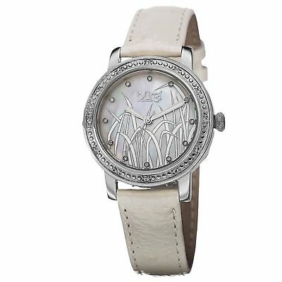 New Women's Burgi BUR096SSW Diamond Dial White Leather Strap Watch