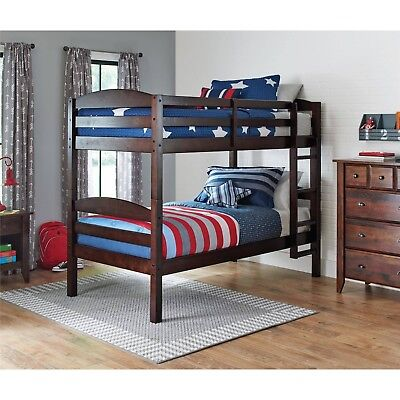 Bunk Bed Ringer Over Twin Wood Convertible Bunkbeds Kids Ladder Furniture Espresso