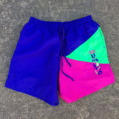 Vintage 80s 90s Umbro Athletic Nylon Sports Shorts Colorblock Running Soccer L