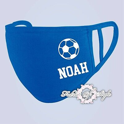 Personalised Kids Face Mask Football Gym Team Back To school Washable Royal Blue
