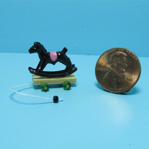 Dollhouse Miniature Baby Nursery Rocking Horse Pull Toy IM65920