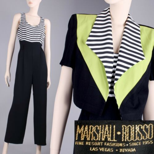 M Vintage 80s Marshall Rousso Black Green New Wave Jumpsuit w/ Crop Bolero Set