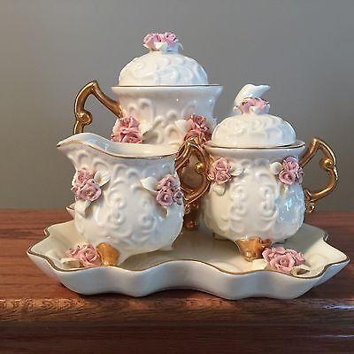 Ivory Porcelain Tea Set With Applied Pink Roses & Gold Trim