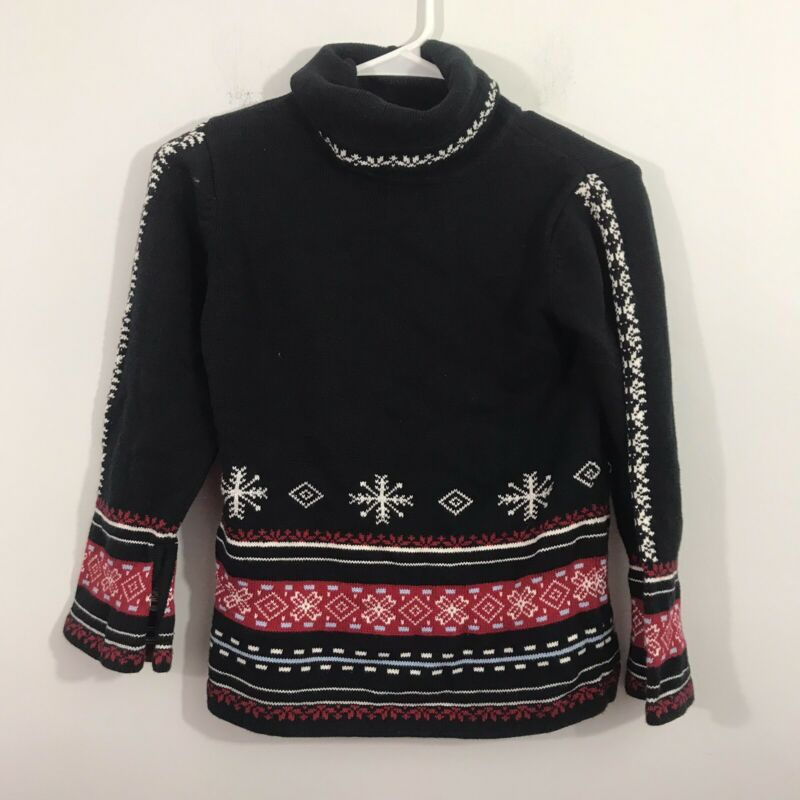 Hanna Andersson 140 Nordic Fair Isle Holiday Sweater Black Kids