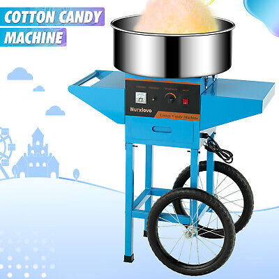 Portable 20 Cotton Candy Machine Electric Commercial Floss Making Cart Blue