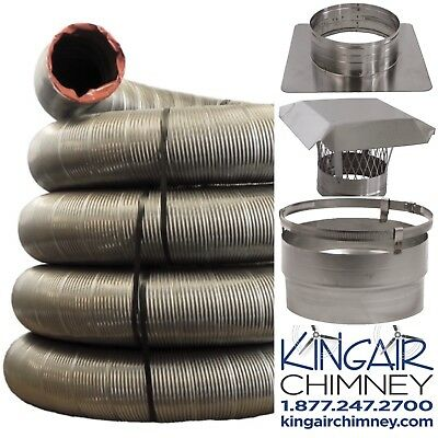 Chimney INSERT liner kit 6x20 STAINLESS STEEL w/ Cap EASY INSTALL Lifetime (Installing Stainless Steel Chimney)