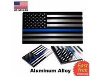 1pc New Aluminum Blue Lives Matter Thin Blue Line American Flag Decal Sticker