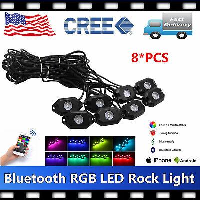 Green Rock Lights 8pcs Zeus Lighting Cyclops Led Jeep Truck SXS RZR 9W CREE