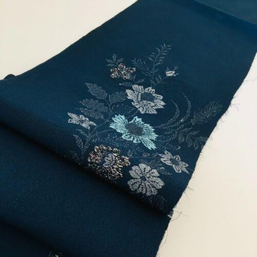 Indigo Embroidery #C 6x52 Silk Japanese Kimono Fabric Pattern Sewing QuiltingRH4