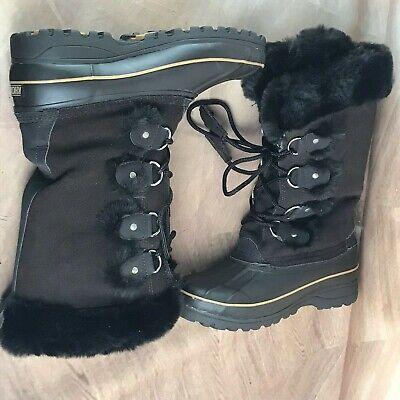 """KHOMBU Boots Women's """"Bryce"""" Size USA 7 M Leather Black Winter 655536"""