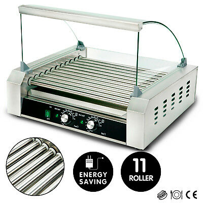 New Commercial 30 Hot Dog 11 Roller Grill Stainless Steel Cooker Machine Wcover