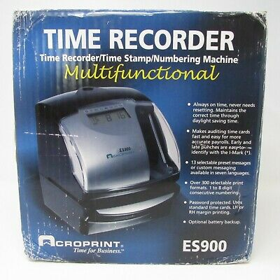 Acroprint ES900 Digital Automatic Payroll Recorder Time Clock Stamp Numbering