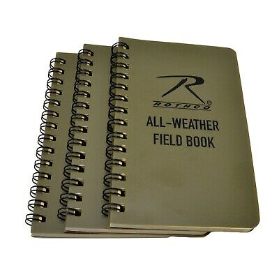 Rothco 3x5 Waterproof All Weather Notebook Field Book Spiral Bound 3 Pack
