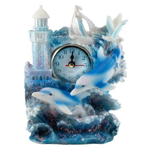 "Dolphin Clock Figurine 6.75""H Sparkly Resin Brand New"