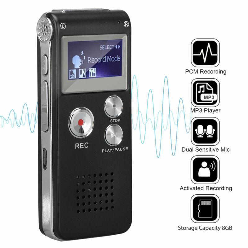 Voice Activated Mini Spy Digital Sound Audio Recorder Dictaphone MP3 Player 8GB