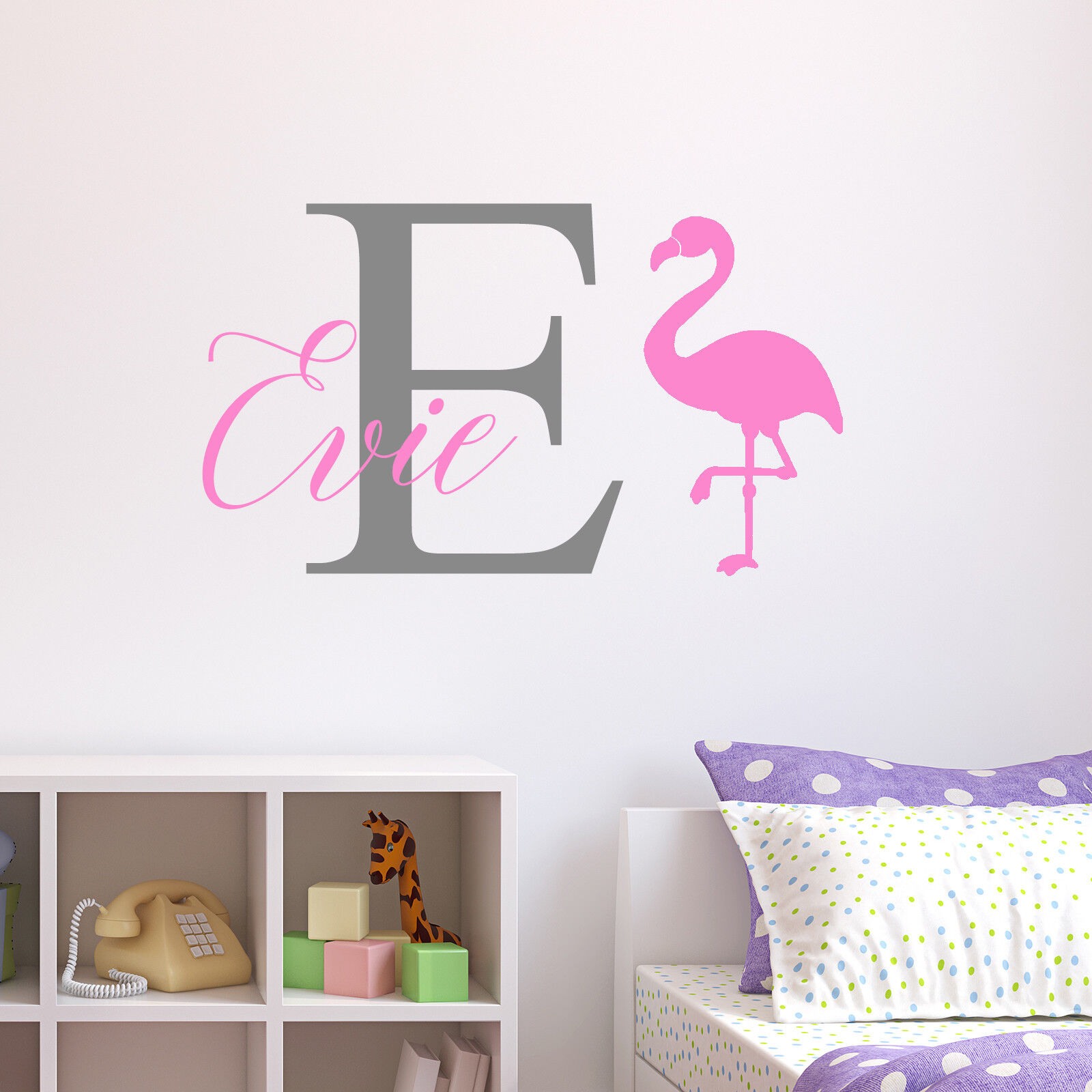 Personalised Flamingo Wall Sticker Wall Decal Childrens Kids