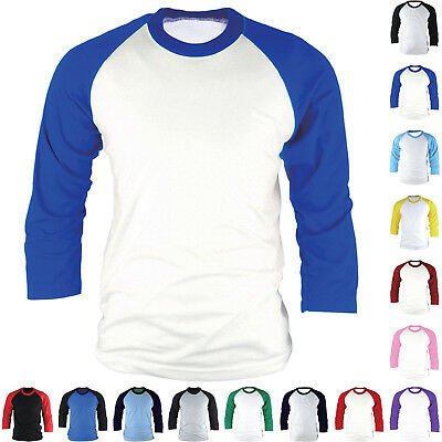Men Women 3/4 Sleeve Raglan T-Shirts Baseball Sports Team Cotton Plain Style Tee - Womens 3/4 Sleeve Raglan Tee